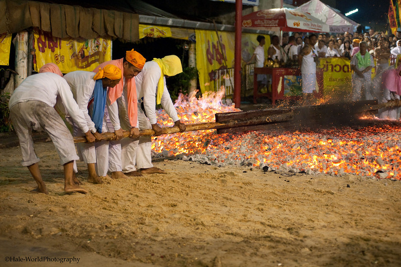 Devotees Prepare Fire for Fire walking Ritual at Ban Neow Shrine
