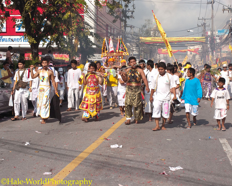 Devotees from Ban Neow Shrine Parade Through Phuket Town