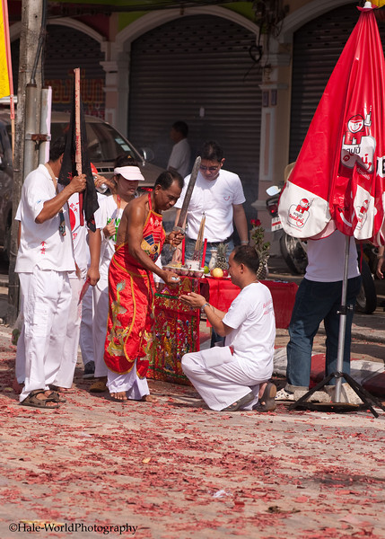 Bang Neow Shrine Ma Song Gives A Blessing In Morning Procession Through Phuket Town