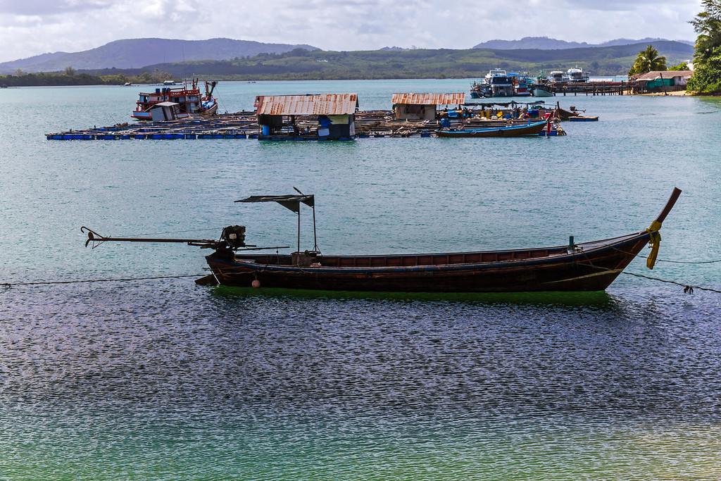 Longtail boat under the Sarasin Bridge, Phuket