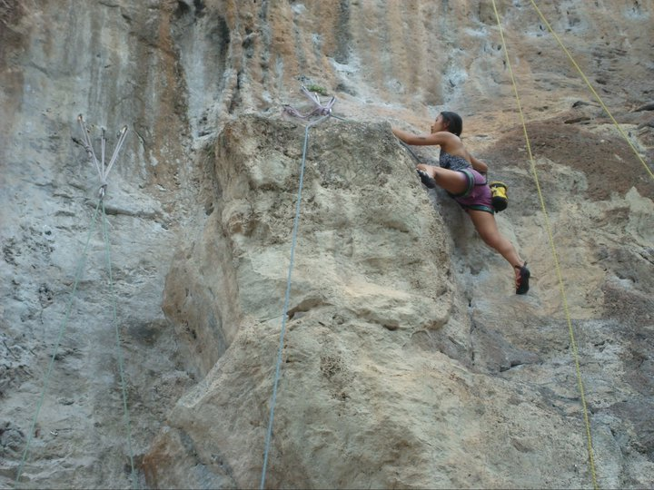 Sapphira rock climbing at Railay Bay [photo credit: Sapphira Beaudin]
