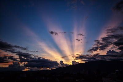 A beautiful sunset over Doi Suthep in the city of Chiang Mai, Thailand.