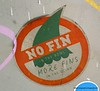 Sticker protesting shark fin soup in Bangkok , Thailand in February 2014. No fin the more, more fins in the ocean