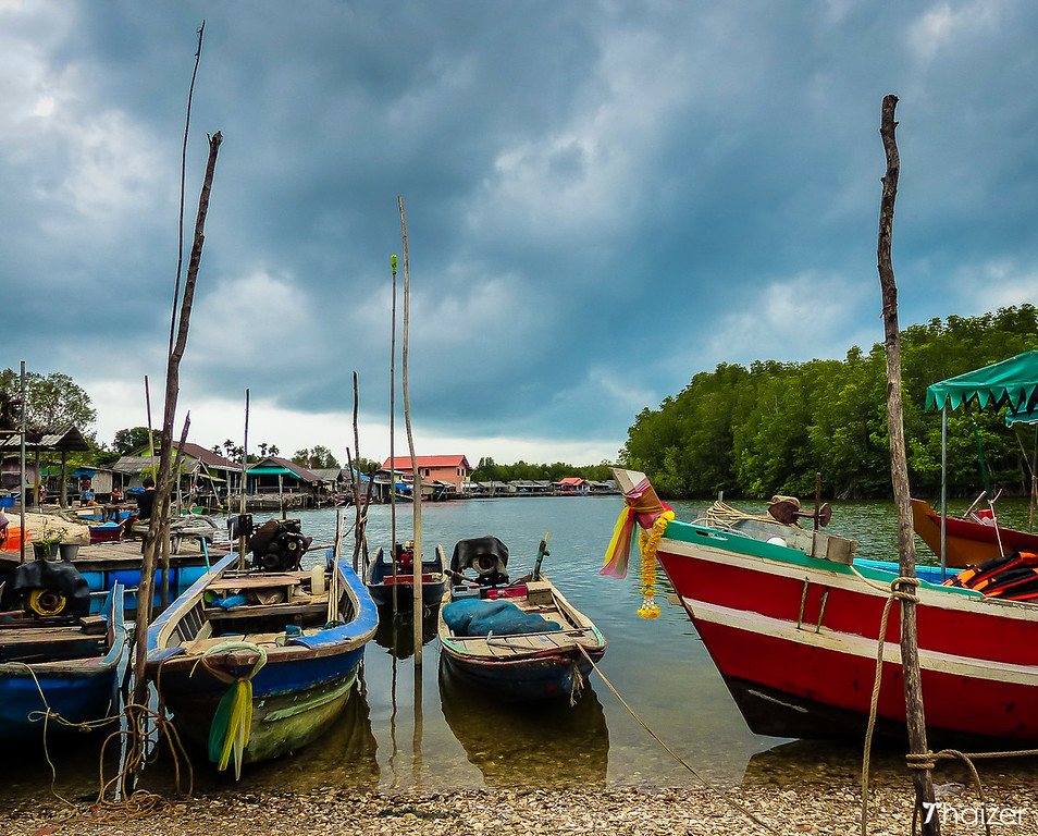 boats at Ban Nam Chiao Eco-Tourism Community, Trat