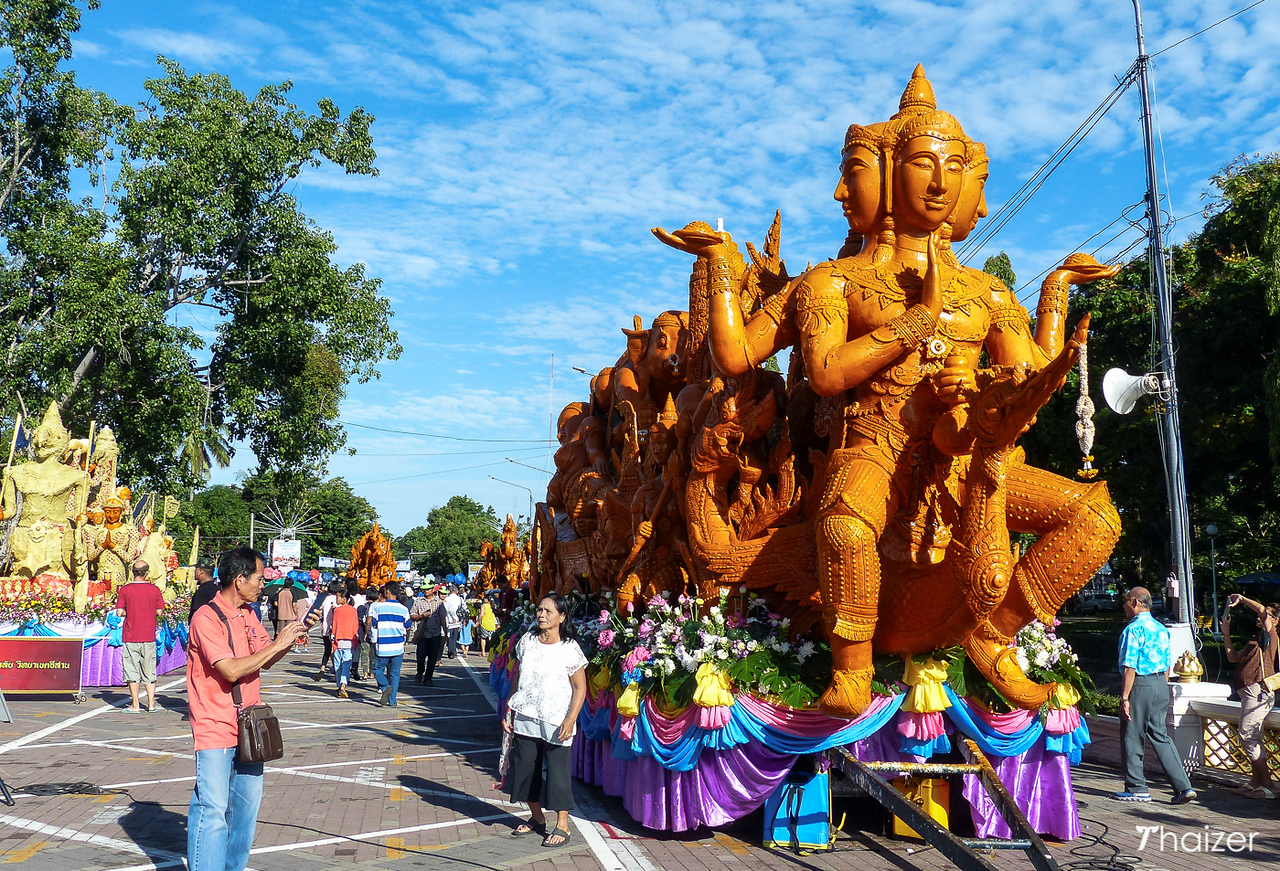 giant waxwork sculpture on display at the Ubon Ratchathani Candle Festival