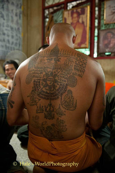 A Back Adorned With Magical Tattoos - Sak Yant