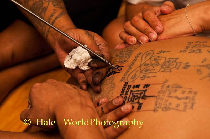 Sak Yant Tattoo Being Applied