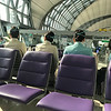 Seoul airport and Korean Air Flight attendants.