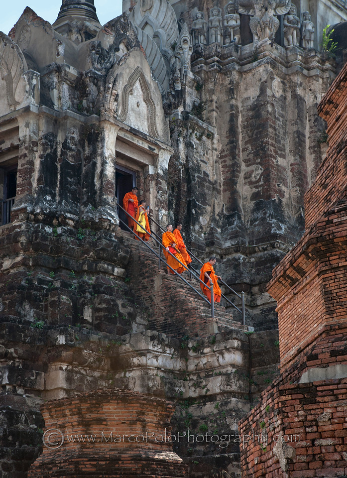 """Monks Visiting Ruins in Auytthaya. 15""""x21"""""""