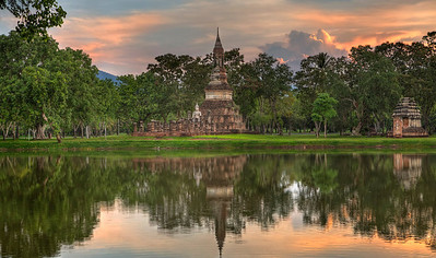 Buddha by the Lake. Sukhotai. Thailand