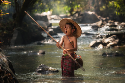 Tired Young Fisherman