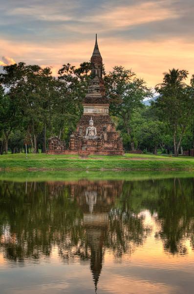 Buddha by the Lake. (Vertical) Sukhotai. Thailand.