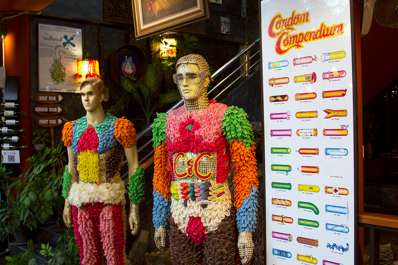 condoms and cabbages mannequins covered with frangers