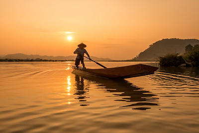 Heading for Shore, Sunrise along the Mekong River, Thailand