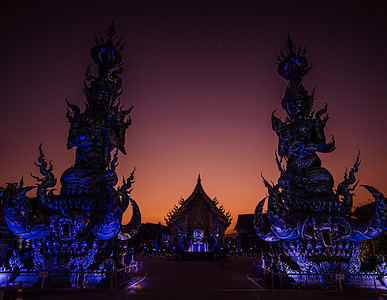 Chiang Rai Blue Temple at Sunset