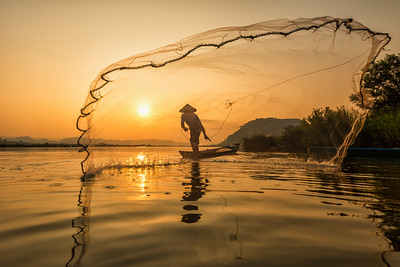 Casting His Net, Mekong River Sunrise