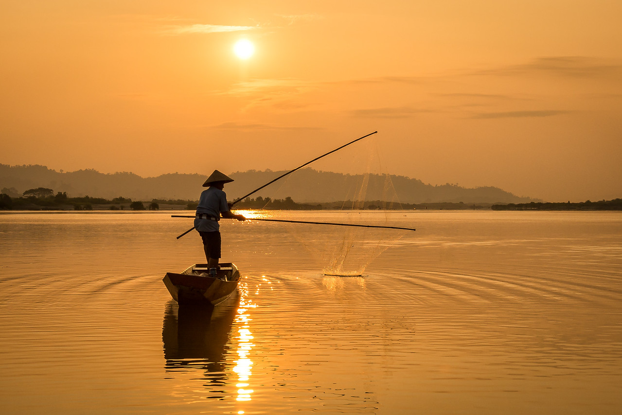 Traditional Fishing, Sunrise on the Mekong River, Thailand