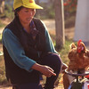 Woman weighs live chicken on scale in market, Mai Salong, Thailand