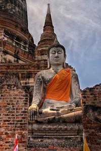"""Ayutthaya. Buddha at Wat Yai Chai Mongkhon. 15"""" x 22"""""""