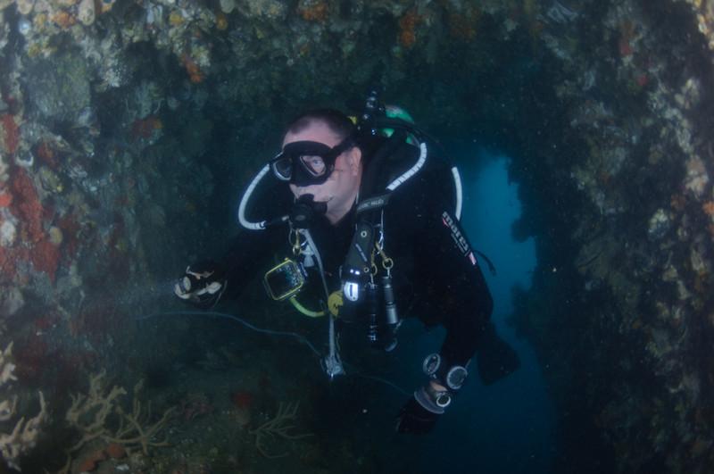 Exploring the inside of the World War II shipwreck Hardeep, located off Sattahip near Pattaya, Thailand
