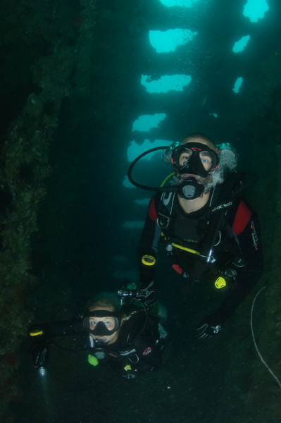 Exploring the inside of the World War II shipwreck Hardeep, located off Sattahip near Pattaya, Thailand