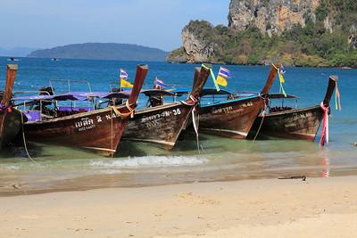 Long Tail boats on the beach at Het Rai Leh East