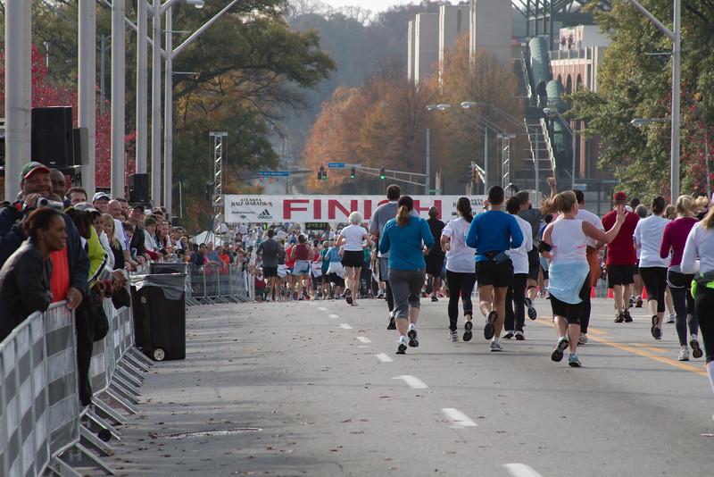 Atlanta Thanksgiving half-marathon, the finish line at Turner Field