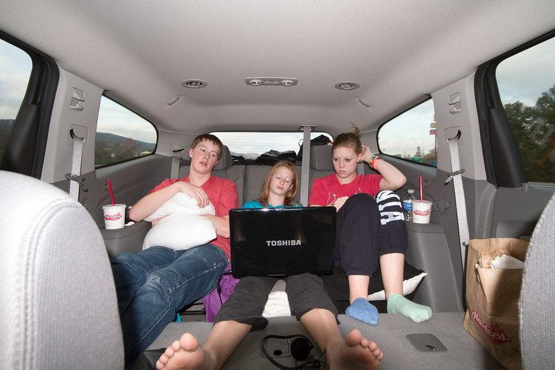In the Family Truckster.  The Traverse has so much room, the luggage is all in the way back, the kids have the middle-row of seats down for plenty of room to stretch out and watch a movie.   The laptop was plugged into a 110v inverter to keep it going for the whole trip.