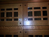 Detail of quarter-sawn oak with solid walnut inlays at corners