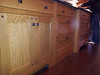 Closer look at the quarter-sawn oak cabinets, hand made by (real) Amish carpenters, with maple flooring