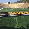 U.C. Berkeley Football Stadium.  The zigzag line leading up to the playing field makrs the Hayward earthquake fault.  It crosses the length of the field and thru the stadium wall just to the right of the scoreboard.