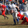 21NOV01 tyngsboro: tyngsboro v pelham for annual thanksgiving day game at tyngsboro jr sr high school.left to right : Pelham's #22 Jason Blinn fights off tyngsboro defense #15 Brian Carey . photo by Tory germann digital image