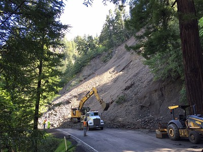 Thursday's estimate from Caltrans was that the slide could fill up 2,500 dump truck loads. There is no estimate of when the roadway will reopen. (Photo by Caltrans)