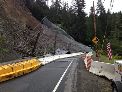 On Monday, the U.S. Highway 101 slide closed the highway in both directions. At the time, Caltrans estimated it could be reopened by Wednesday. (Photo from Caltrans)