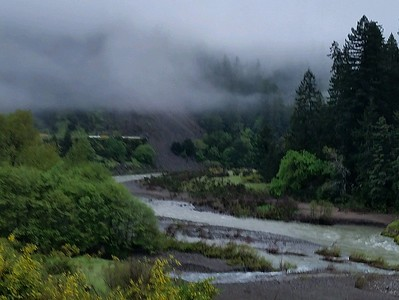 By Thursday, the slide was approaching the South Fork Eel River. (Photo by Caltrans)