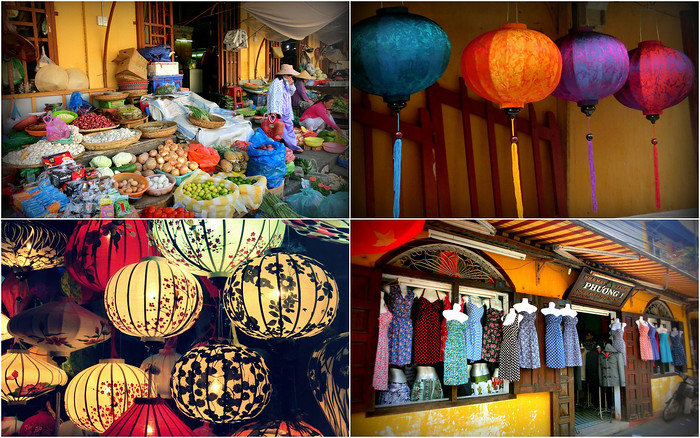 Silk lanterns, food markets, and tailors in Hoi An, Vietnam.