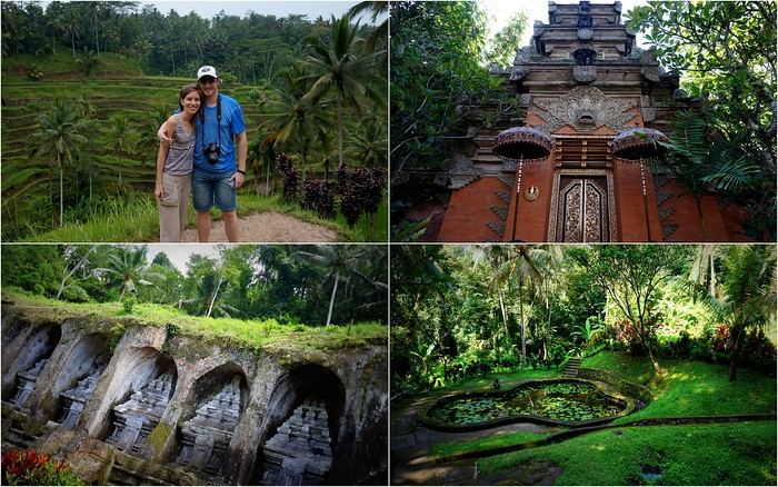 Visiting temples and rice terraces in Bali.