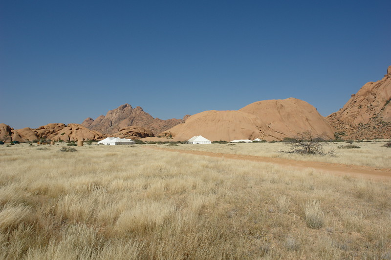 10000BC Camp starts going up for our one week stayin Spitzkoppe
