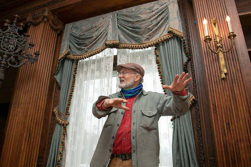 """The Thayer Mansion in Lancaster was used recently in the new movie """"Little Women"""" that came out in 2019.  Alan Colby talks about the movie filling in the house and on the grounds as he stands in front of one of the window that still had curtains that had been put up for the movie. SENTINEL & ENTERPRISE/JOHN LOVE"""