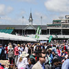 The Twin Spires poke out above the crowded infield at the 143rd Kentucky Derby at Churchill Downs on Saturday. Staff Photo By Josh Hicks