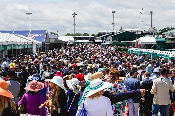 The infield fills up after the rain passes during the 143rd Kentucky Derby at Churchill Downs on Saturday. Staff Photo By Josh Hicks