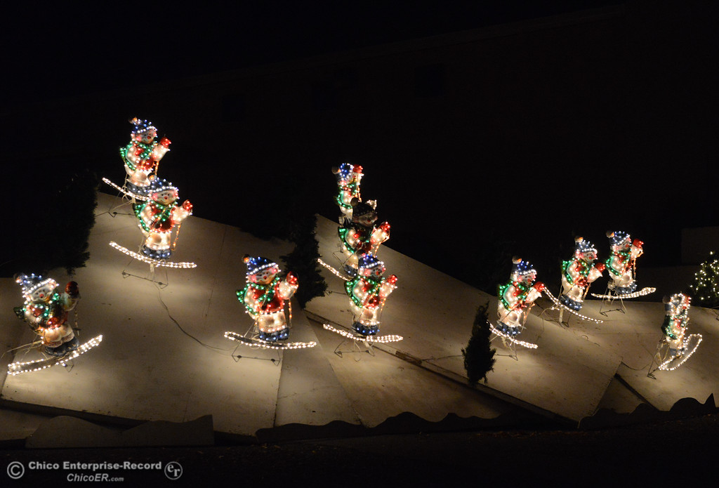 . Snowmen go skiing along the 14th annual Avenue of Lights drive-thru Wednesday December 13, 2017 at the Glenn County Fairgrounds in Orland, California. (Emily Bertolino -- Enterprise-Record)