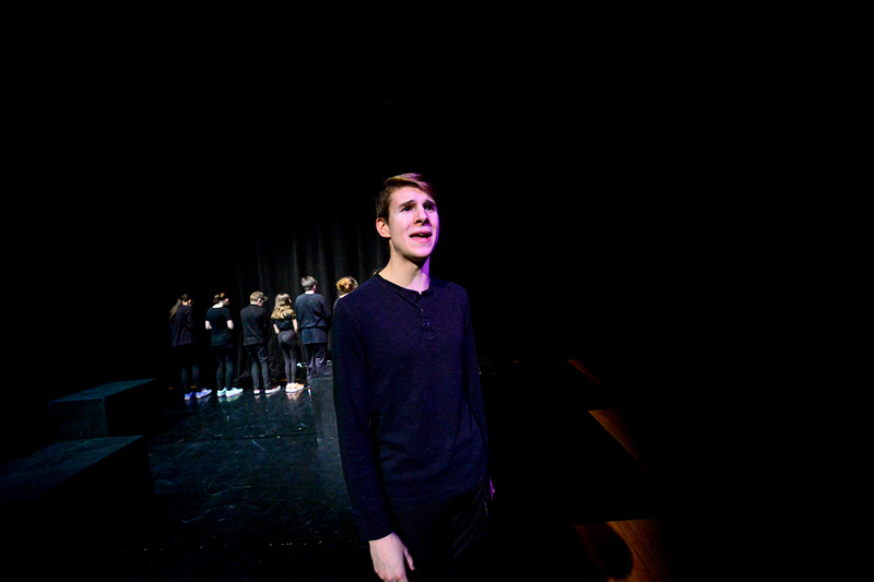 """KRISTOPHER RADDER — BRATTLEBORO REFORMER<br /> The Leland & Gray Players have a dress rehearsal for """"The 15 Minute Hamlet"""" on Tuesday, March 3, 2020, as they prepare for their March 5 opening.  The play will be on March 5 and 6 at 7:30 p.m. at the Leland & Gray Union Middle and High School and March 7 at 8 p.m. at Vermont Drama Festival at Essex High School."""