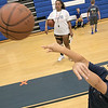 The 16th Mark Osowski Memorial Basketball Camp was being held this week at the Leominster High School gym. Harrison Hartman, 9, puts up a free throw during the camp on Tuesday, August 13, 2019. SENTINEL & ENTERPRISE/JOHN LOVE
