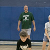 The 16th Mark Osowski Memorial Basketball Camp was being held this week at the Leominster High School gym. August 13, 2019.  The kids participated in a relay race during the camp. Coach Gary Kozloski watches over the relay. SENTINEL & ENTERPRISE/JOHN LOVE