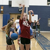 The 16th Mark Osowski Memorial Basketball Camp was being held this week at the Leominster High School gym. Maren Paquette, 11, puts up a free throw during the camp on Tuesday, August 13, 2019. SENTINEL & ENTERPRISE/JOHN LOVE