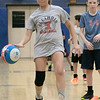 The 16th Mark Osowski Memorial Basketball Camp was being held this week at the Leominster High School gym. August 13, 2019. The kids participated in a relay race during the camp. Hannah Hartman, 12, dribbles down court during the relay. SENTINEL & ENTERPRISE/JOHN LOVE