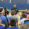 The 16th Mark Osowski Memorial Basketball Camp was being held this week at the Leominster High School gym. Coach Jeff O'Neill talks to the kids at the camp on Tuesday, August 13, 2019. SENTINEL & ENTERPRISE/JOHN LOVE