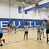 The 16th Mark Osowski Memorial Basketball Camp was being held this week at the Leominster High School gym. Cassidy Paradis, 12, puts up a free throw during the camp on Tuesday, August 13, 2019. SENTINEL & ENTERPRISE/JOHN LOVE