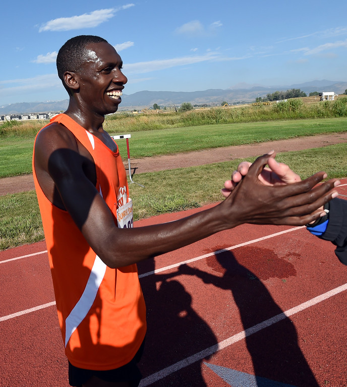 . Simon Ndirangu wins the 10K of  the annual Sunrise Stampede 2-mile and 10K  races held at Silver Creek High School in Longmont.  For more photos, go to dailycamera.com.  Cliff Grassmick  Staff Photographer August 12, 2017
